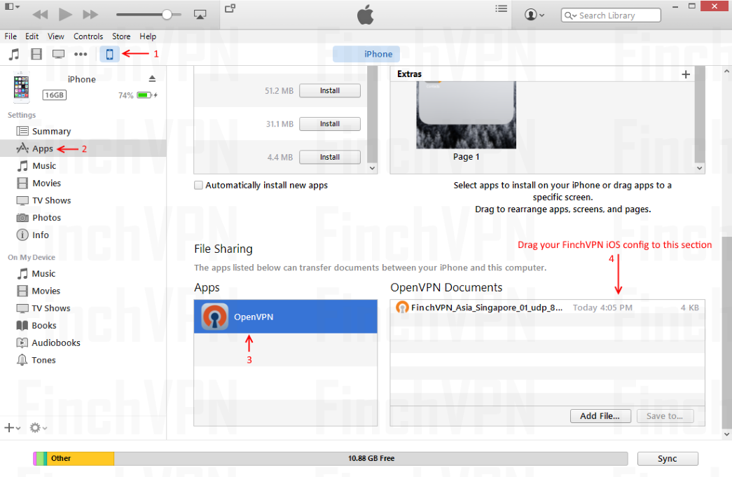 Launch iTunes software and copy config