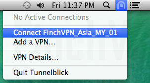 Select Connect 'FinchVPN' VPN