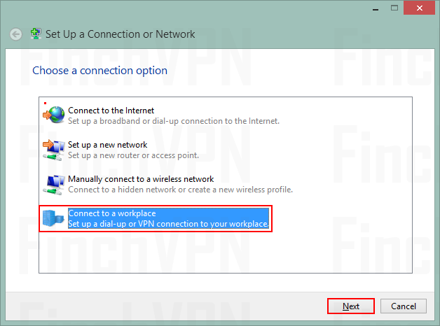 Choose Connect to a workplace to set up a VPN connection.