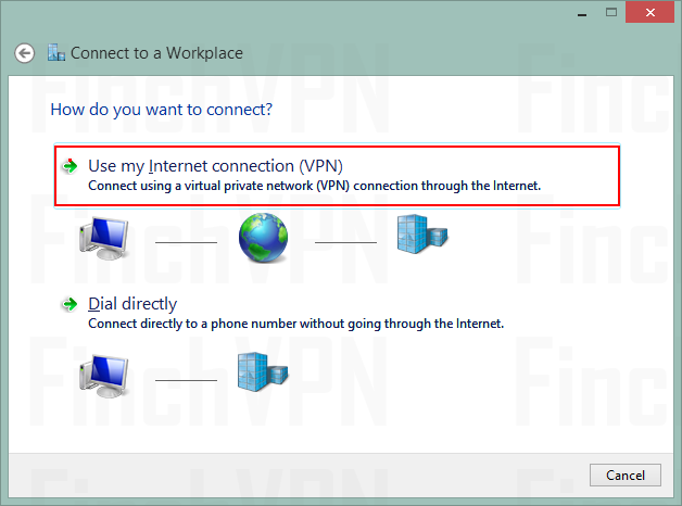Choose Use my Internet connection (VPN)
