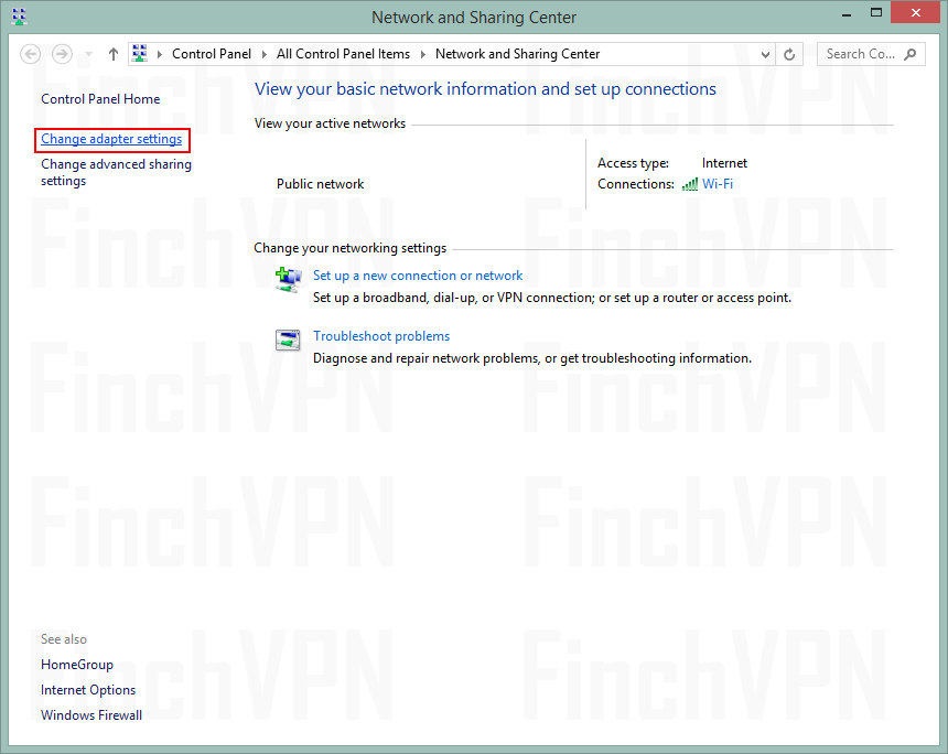 Setting up a PPTP connection on Windows 8 | FinchVPN